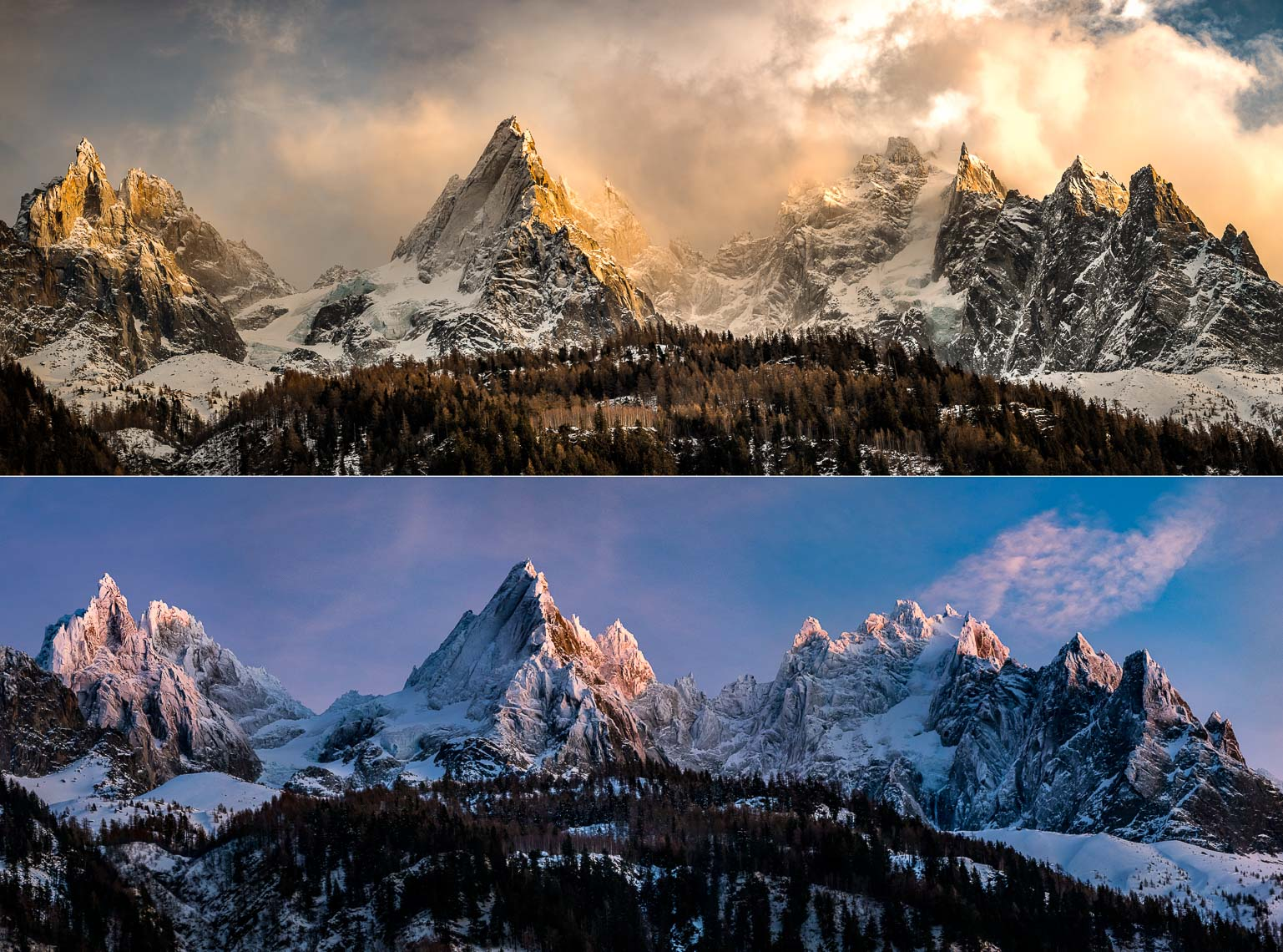 Aiguilles de Chamonix, fall and winter